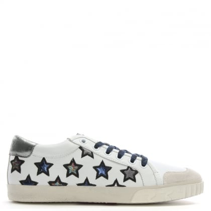 Majestic Navy Metallic Leather Star Motif Trainers
