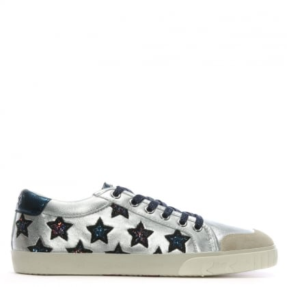 Majestic Silver Metallic Leather Star Motif Trainers