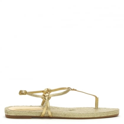 Makayla Gold Leather Toe Post Sandals