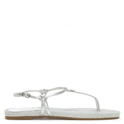 Makayla Silver Leather Toe Post Sandals