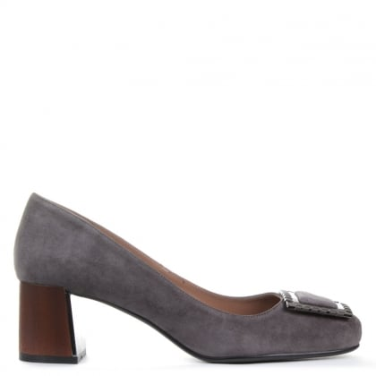Makepeace Grey Suede Block Heel Court Shoes