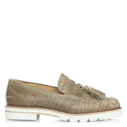 Malina Taupe Reptile Leather Platform Loafer