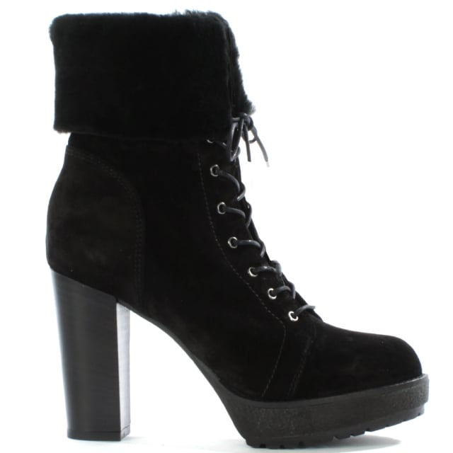 Mallory Black Suede Fur Trim Lace Up Ankle Boot