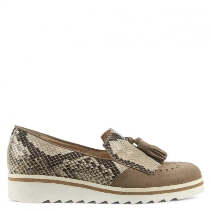 Malva Taupe Suede Reptile Tasselled Loafer