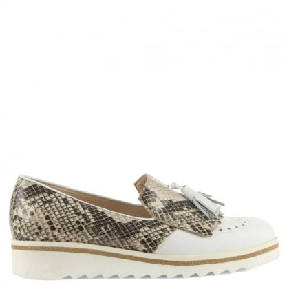 Malva White Leather Reptile Tasselled Loafer