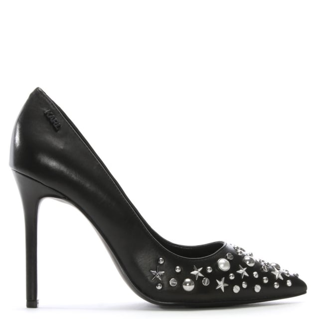 Manoir Black Leather Studded Court Shoes