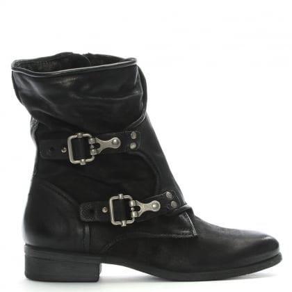 Manta Black Leather Biker Boots