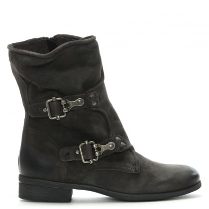 Manta Grey Leather Biker Boots