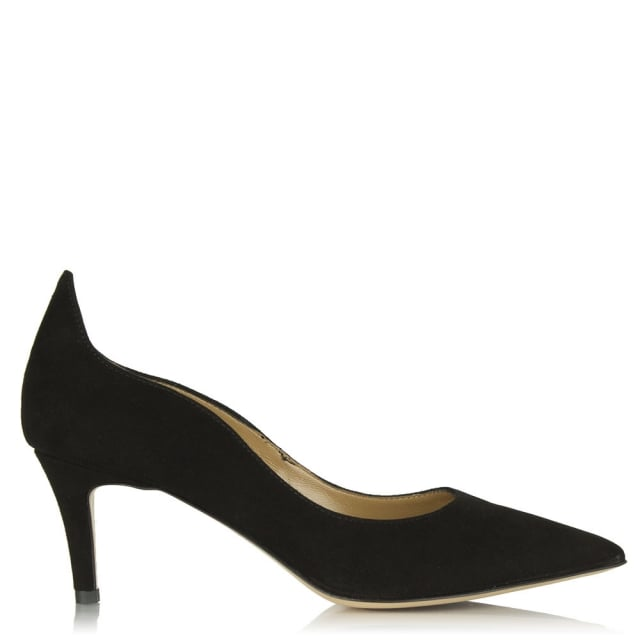 Manzano Black Suede Low Heel Court Shoe