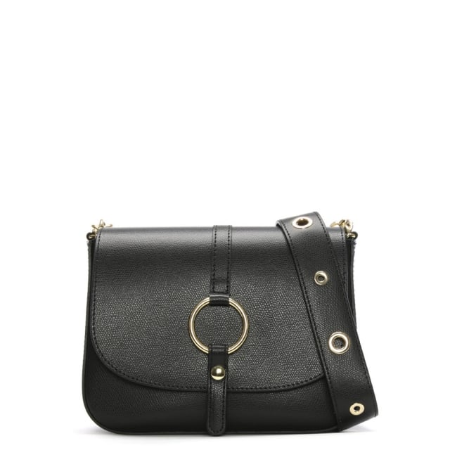 Map Black Leather Saddle Bag