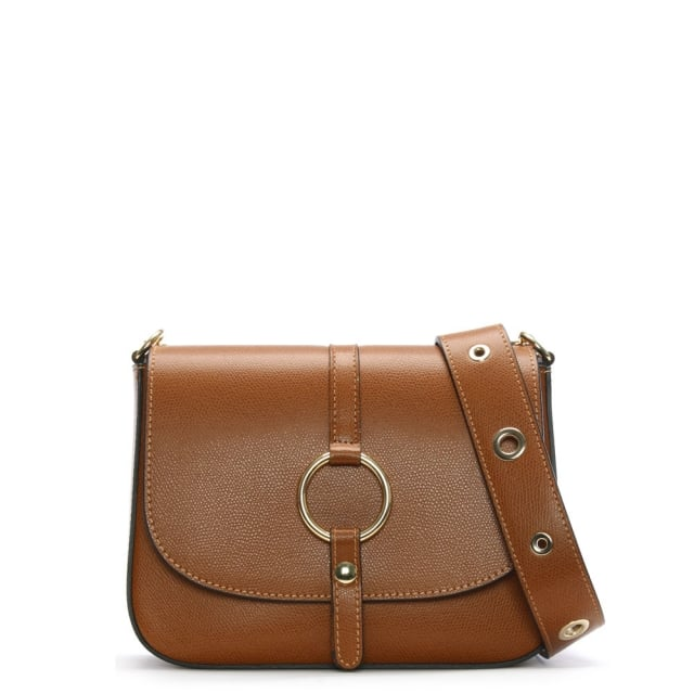 Map Tan Leather Saddle Bag