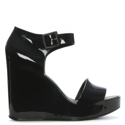 Mar Black Ankle Strap Wedge Sandals