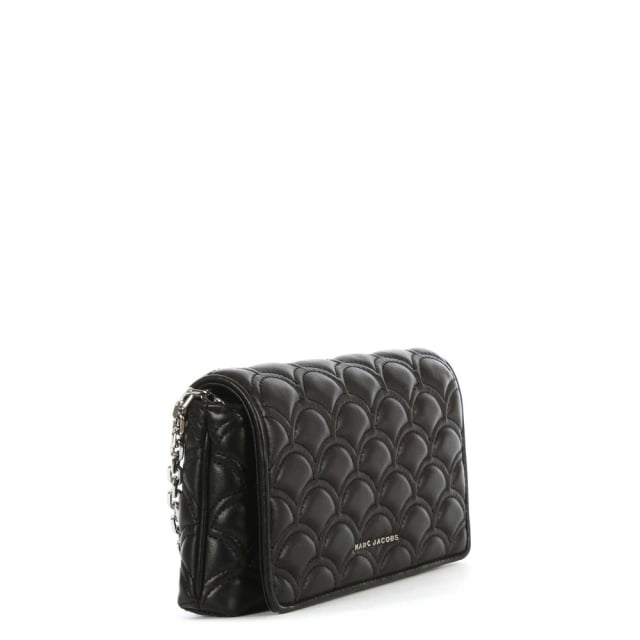 ab4a06707e637 Marc Jacobs Matelasse Black Leather Quilted Wallet On Chain