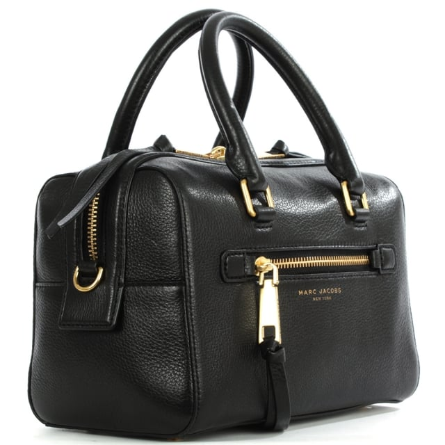 Recruit Small Bauletto Black Leather Bowler Bag