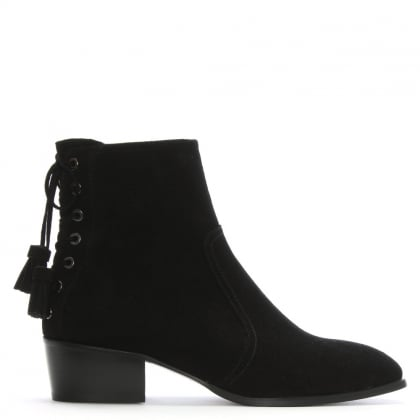 Marcella Black Suede Ankle Boots