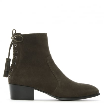 Marcella Khaki Suede Ankle Boots