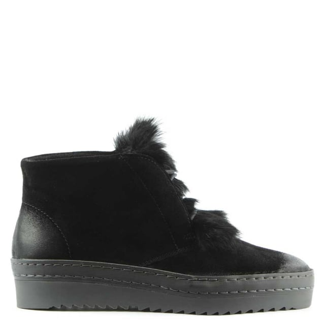 Marcia Black Suede Fur Trim Sporty Ankle Boot