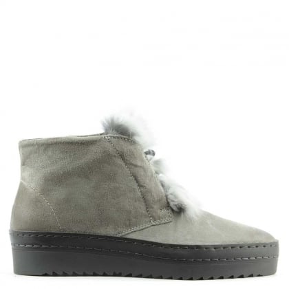 Marcia Grey Suede Fur Trim Sporty Ankle Boot
