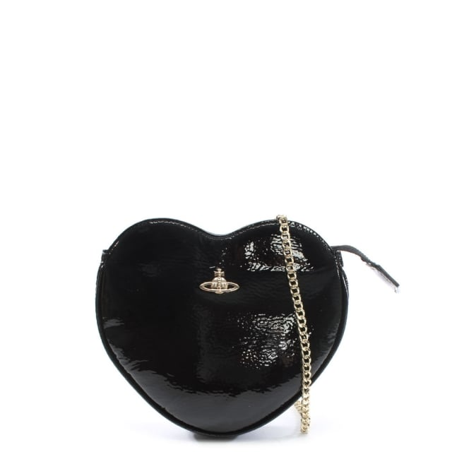 Margate Black Patent Leather Heart Cross-Body Bag