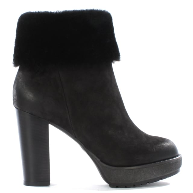 575dc992520f4e Daniel Maribel Black Leather Shearling Trim Platform Ankle Boot