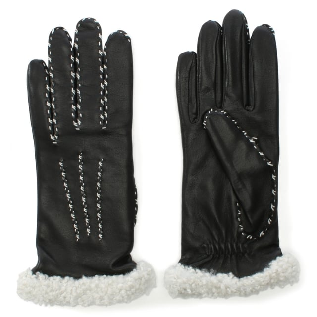 Marie Louise Black Leather Gloves