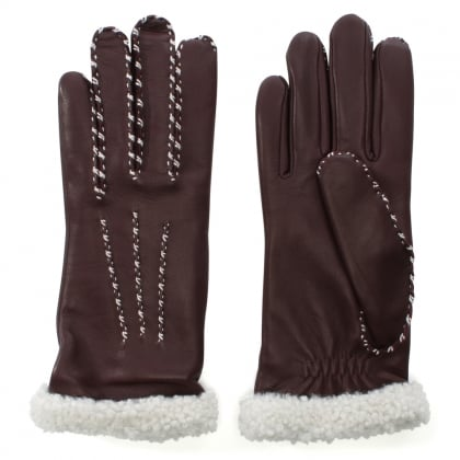 Marie Louise Burgundy Leather Gloves