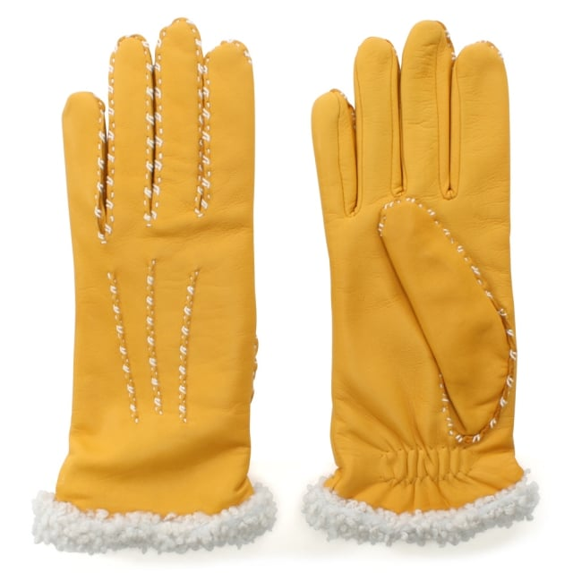 Marie Louise Yellow Leather Gloves