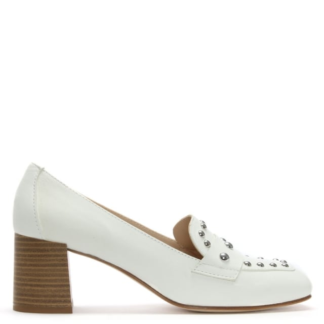 Marie White Leather Studded Block Heel Loafers