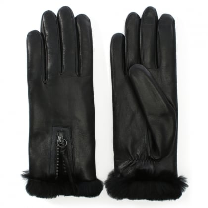 Marina Black Leather Fur Trim Gloves