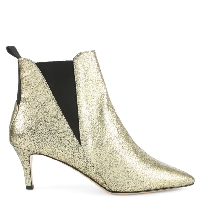 phio myo marina gold metallic leather kitten heel chelsea boot