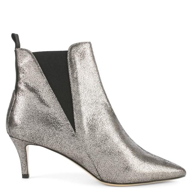 732e45b64e6 Marina Silver Metallic Leather Kitten Heel Chelsea Boot