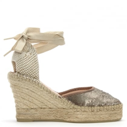 Marken Bronze Sequin Wedge Espadrilles