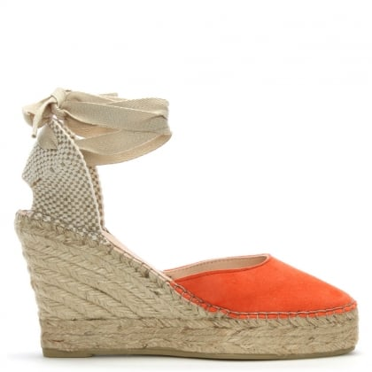Marken Orange Suede Wedge Espadrilles