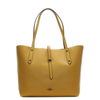 Market Polished Flax Leather Tote Bag