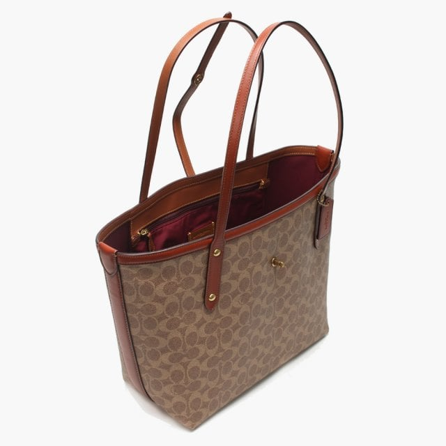 d0e696f7d20 Coach Market Tan Rust Signature Canvas Tote Bag