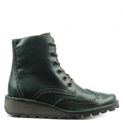 Marl Green Leather Low Wedge Lace Up Ankle Boot