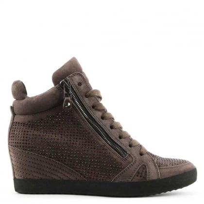 Kennel & Schmenger Marlowe Taupe Suede Diamante Low Wedge Trainer