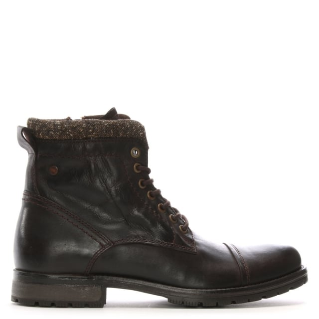 Marly Brown Leather Military Boots