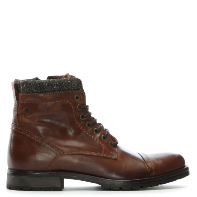Jack & Jones Marly Tan Leather Military Boots