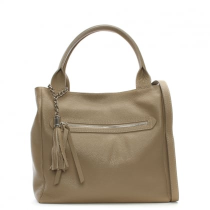 Marquee Large Taupe Leather Tassel Shoulder Bag