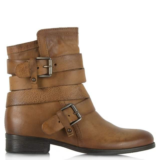 Marvelous Tan Leather Buckled Strap Ankle Boot