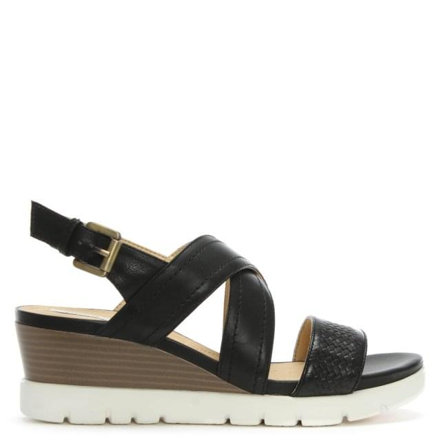 Marykarmen Black Leather Woven Wedge Sandals