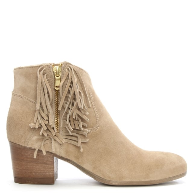 Massonia Taupe Suede Fringe Ankle Boot