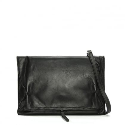 Match Large Black Leather Ruched Clutch Bag