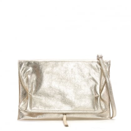 Match Large Gold Leather Ruched Clutch Bag