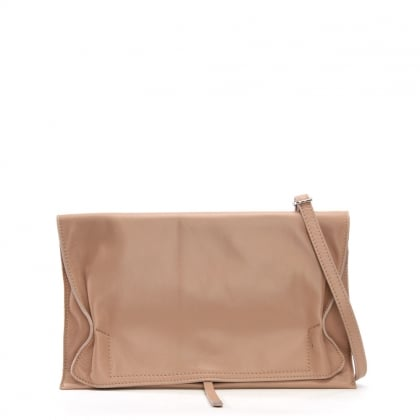 Match Large Pink Leather Ruched Clutch Bag