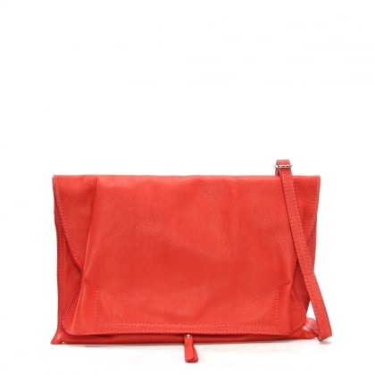 Match Large Red Leather Ruched Clutch Bag