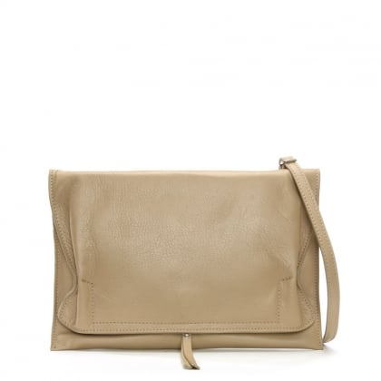Match Large Taupe Leather Rouched Clutch Bag