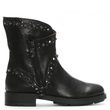 Matha Black Leather Studded Biker Boots