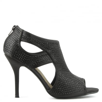 Matterhorn Black Diamante Embellished High Cut Out Sandal